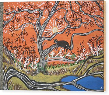 Wood Print featuring the painting Black Panther by Jeffrey Koss