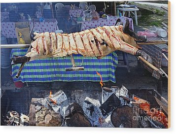 Wood Print featuring the photograph Black Pig Spit Roasted In Taiwan by Yali Shi