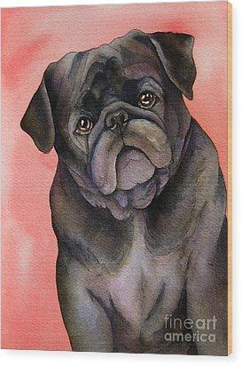 Black Pug Wood Print by Cherilynn Wood