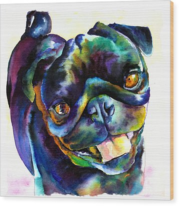 Black Pug Wood Print by Christy  Freeman