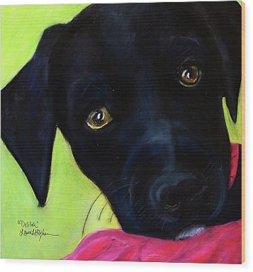 Black Puppy - Shelter Dog Wood Print