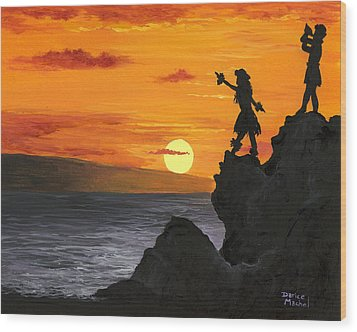 Wood Print featuring the painting Black Rock Maui by Darice Machel McGuire