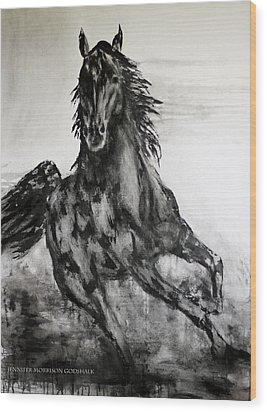 Black Runner Wood Print by Jennifer Godshalk