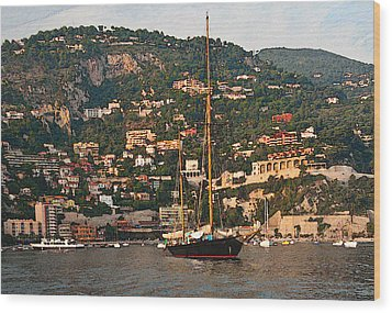Black Sailboat At Villefranche II Wood Print