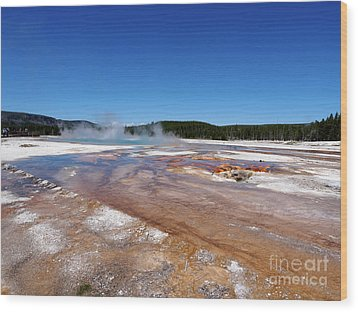 Black Sand Basin In Yellowstone National Park Wood Print by Louise Heusinkveld