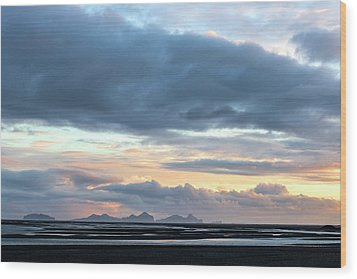 Wood Print featuring the photograph Black Sand Sunset Iceland by Brad Scott