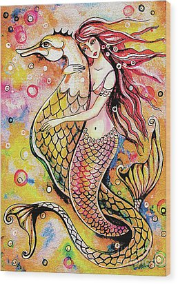 Black Sea Mermaid Wood Print by Eva Campbell