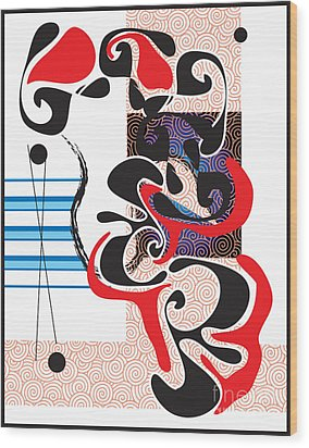 Wood Print featuring the digital art Black Shapes With Red by Christine Perry