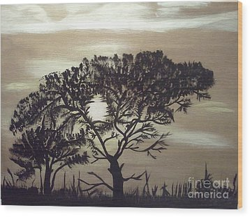 Black Silhouette Tree Wood Print