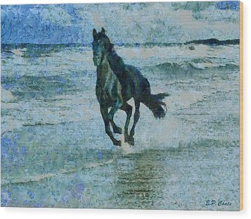 Black Stallion Wood Print by Elizabeth Coats