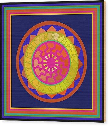 Black Sun Mandala Rune Calendar Wood Print