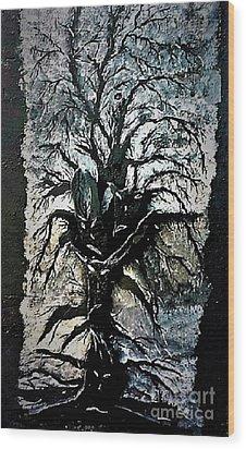 Black Tree Wood Print