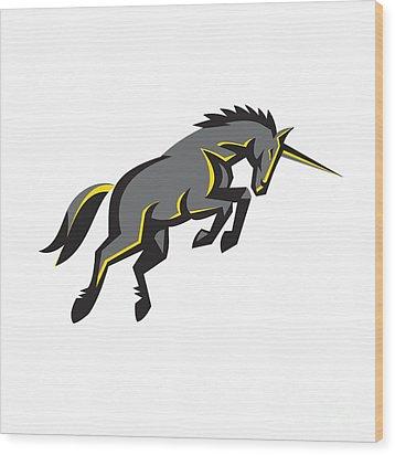 Black Unicorn Horse Charging Isolated Retro Wood Print by Aloysius Patrimonio