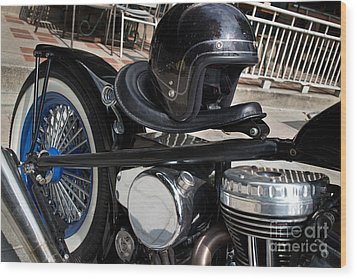 Black Vintage Style Motorcycle With Chrome And Black Helmet Wood Print by Jason Rosette