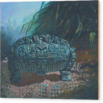 Black Wakahuia Wood Print by Peter Jean Caley