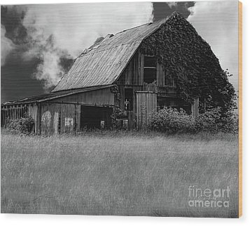 Black White Barn Wood Print