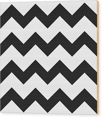 Wood Print featuring the mixed media Black White Geometric Pattern by Christina Rollo