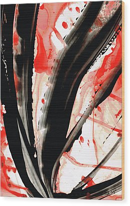 Black White Red Art - Tango 2 - Sharon Cummings Wood Print by Sharon Cummings