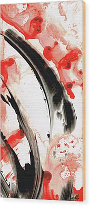 Black White Red Art - Tango 3 - Sharon Cummings Wood Print by Sharon Cummings