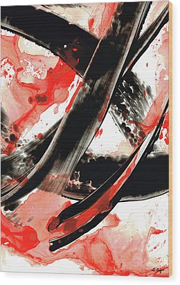 Black White Red Art - Tango - Sharon Cummings Wood Print by Sharon Cummings