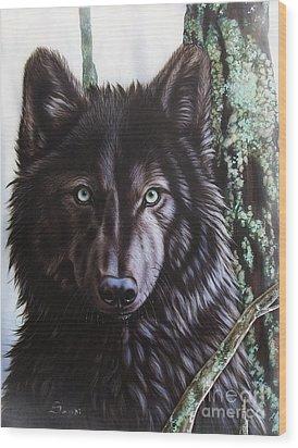 Black Wolf Wood Print by Sandi Baker