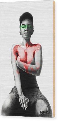 Wood Print featuring the digital art Black Xoxo by AC Williams