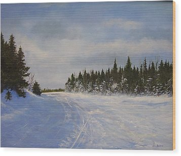 Wood Print featuring the painting Blackbear Ski Trail by Ken Ahlering