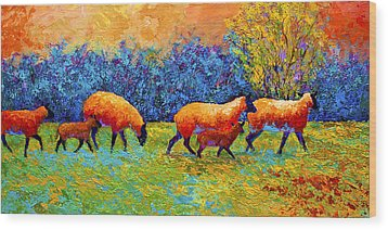 Blackberries And Sheep II Wood Print by Marion Rose