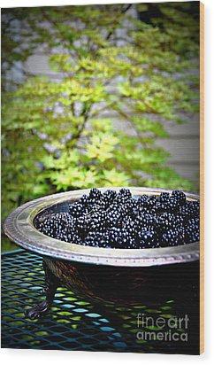Blackberries In Silver Dish Wood Print by Tanya  Searcy