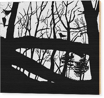 Blackbird In The Woods Wood Print by Martin Stankewitz
