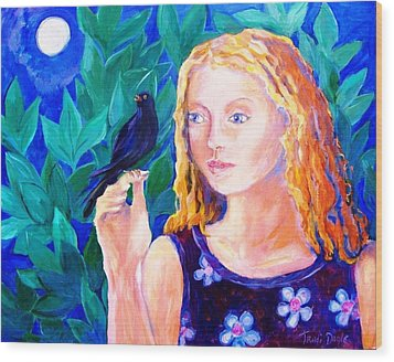 Blackbird Singing In The Dead Of Night  Wood Print by Trudi Doyle