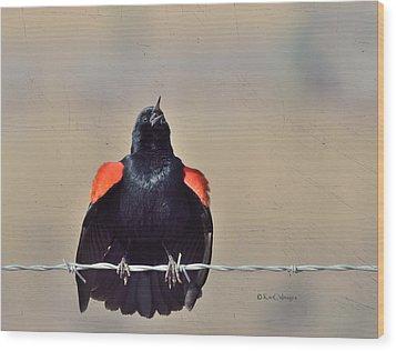 Wood Print featuring the photograph Blackbird Singing by Kae Cheatham