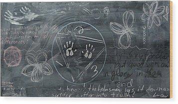 Blackboard Science And Art II Wood Print by Stephen Hawks