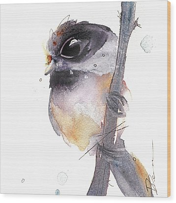 Wood Print featuring the painting Blackcapped Chickadee by Dawn Derman