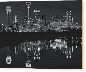 Blackest Night In Big D Wood Print by Frozen in Time Fine Art Photography
