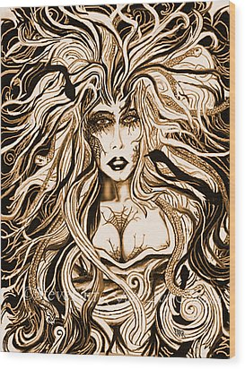 Blackmedusa-sepia Wood Print by Steve Farr