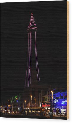 Blackpool Tower Pink Wood Print by Steev Stamford
