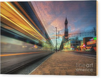 Blackpool Tram Light Trail Wood Print by Yhun Suarez