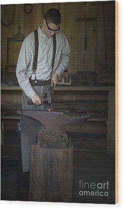 Blacksmith At Work Wood Print by Liane Wright