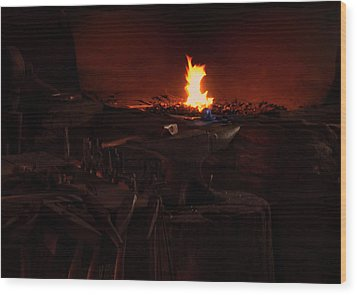 Wood Print featuring the digital art Blacksmith Shop by Chris Flees
