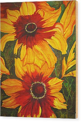 Blanket Flower Wood Print by Lil Taylor