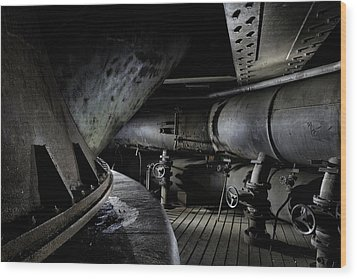 Wood Print featuring the photograph Blast Furnace Piping by Dirk Ercken