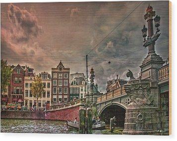 Wood Print featuring the photograph Blauwbrug -blue Bridge- by Hanny Heim
