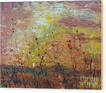 Wood Print featuring the painting Blazing Prairie by Jacqueline Athmann