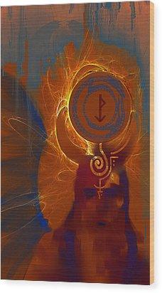 Blazzing Wisdom Through Odins Essence Wood Print by Stephen Lucas