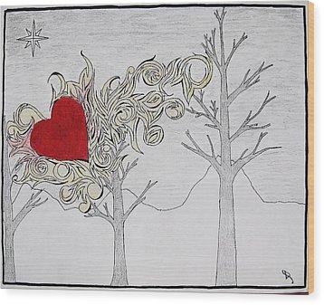 Wood Print featuring the drawing Bleeding Heart by Daryl Chakravarthy