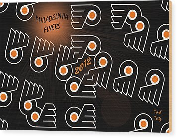 Bleeding Orange And Black - Flyers Wood Print