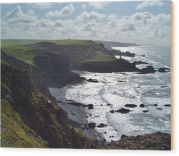 Blegberry Cliffs From Damehole Point Wood Print