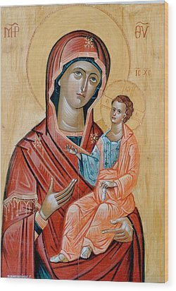 blessed Virgin Mary Wood Print by George Siaba