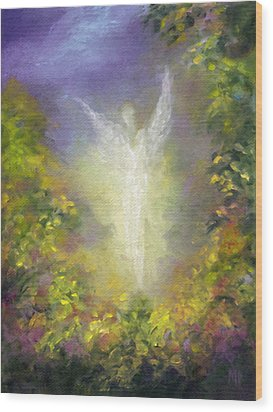 Wood Print featuring the painting Blessing Angel by Marina Petro